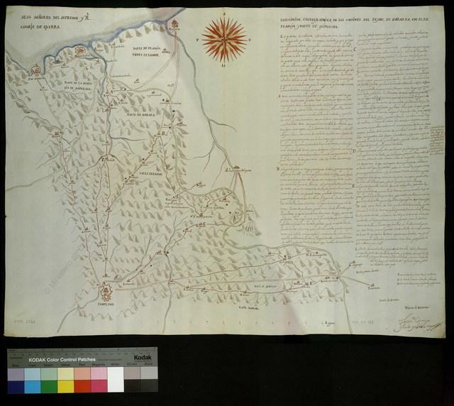 Descripcion Chorographica, de los Confines del Reyno, de Nabarra, con el de Francia y parte de Guipuzcoa [Material cartográfico]