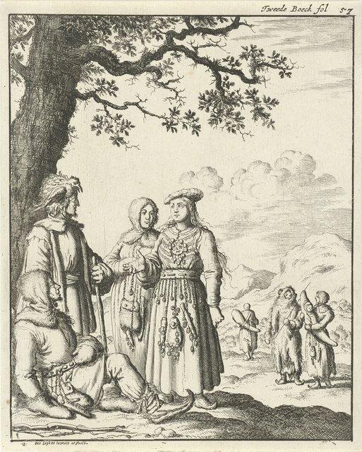 Laplandse mannen en vrouwen in gesprek onder een boom