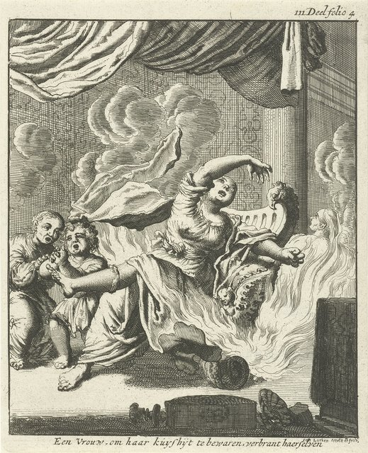 Zittende vrouw en twee huilende kinderen door vlammen omringd