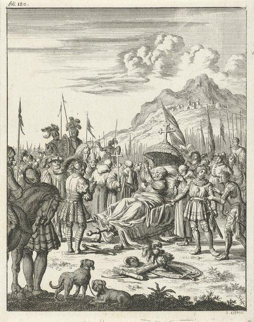 Fulco V, graaf van Anjou en koning van Jeruzalem, sterft liggend op een draagbaar