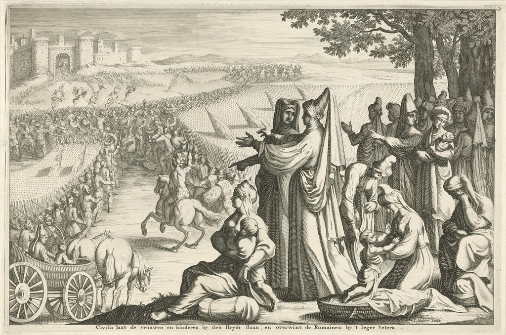 Vrouwen en kinderen zien toe hoe Civilis slag levert met de Romeinen, 69-70