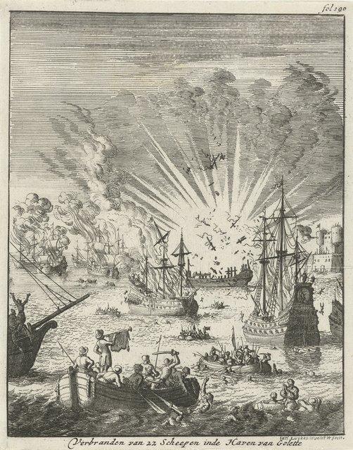 Zeeslag tussen Hollandse en Spaanse schepen voor de kust bij Goa, 1638