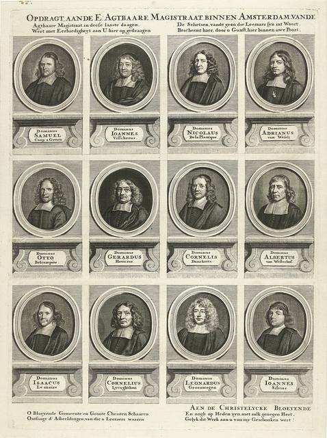 Linkerhelft met twaalf portretten van in totaal vierentwintig predikanten van Amsterdam, werkzaam tussen 1681-1686