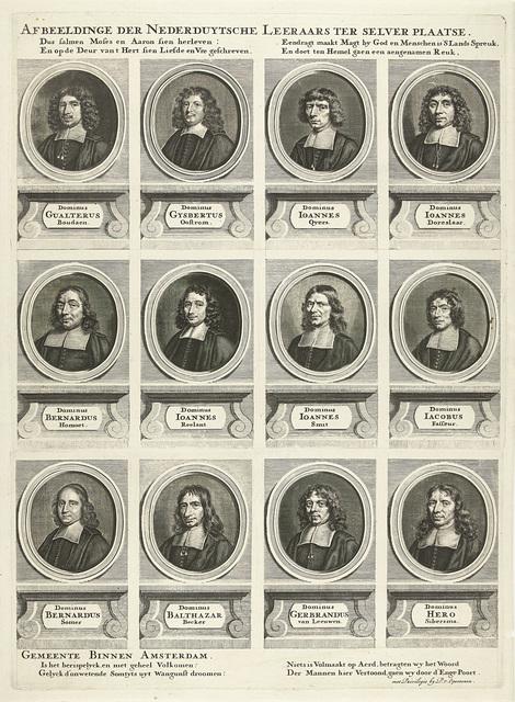 Rechterhelft met twaalf portretten van in totaal vierentwintig predikanten van Amsterdam, werkzaam tussen 1681-1686
