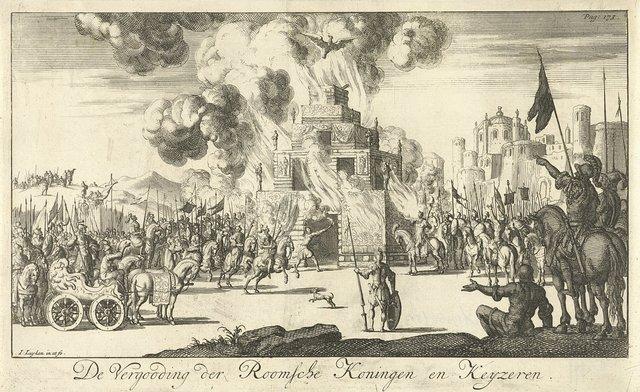 Romeinse soldaten rondom een brandstapel waar een adelaar vanuit de vlammen opstijgt