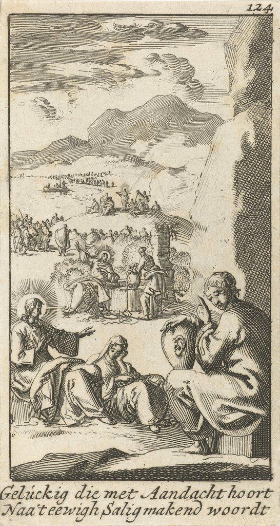 Figuur luistert met een hart op schoot waarop een oor is bevestigd naar een gesprek tussen Maria en Christus