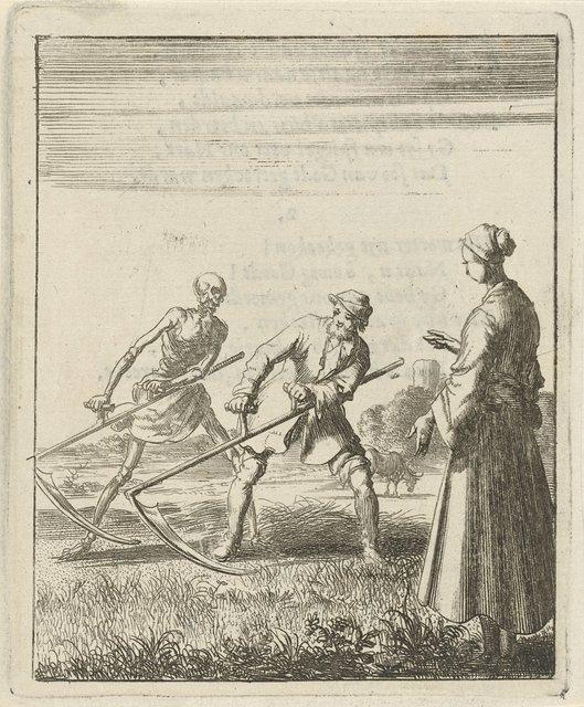 Vrouw aanschouwt een maaier achter wie de Dood met een zeis staat