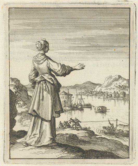 Vrouw uitkijkend over een baai waar een boot door een groep mannen wordt voortgetrokken