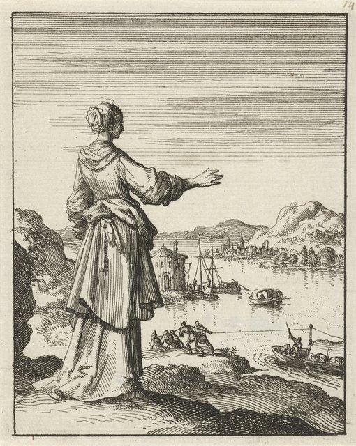 Vrouw uitkijkend over een baai waar een schip door een groep mannen wordt voortgetrokken