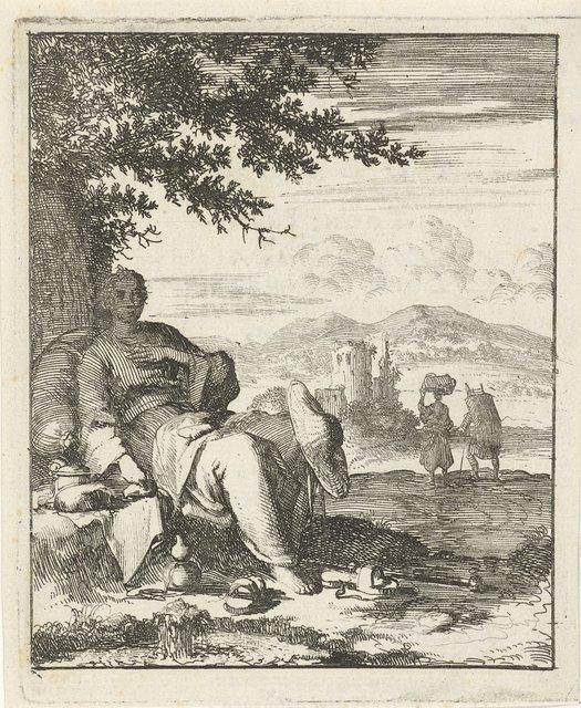 Vrouw zittend in de schaduw onder een boom