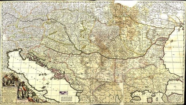 Regni Hungariae et Regionum, quae ei quondam fuere unitae, ut Transilvaniae, Valachiae, Moldaviae, Serviae, Romaniae, Bulgariae, Bessarabiae, Croatiae, Bosniae, Dalmatiae, Sclavoniae, Morlachiae, Ragusanae reipublicae maximaeq[ue] partis Danubii fluminis : [Карта на средното и долното течение на р. Дунав]
