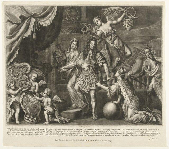 Allegorie op de aanstelling van Willem III als koning van Groot-Brittannië, 1689
