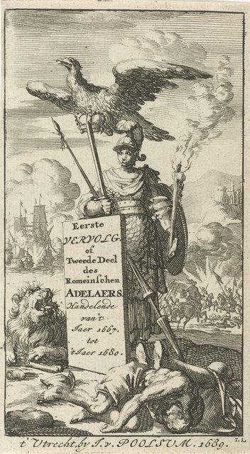 Bellona gewapend met zwaard en speer, boven haar vliegt een adelaar met een kroon in de klauwen
