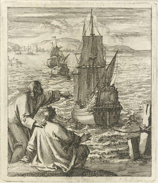 Figuren bekijken vanaf de wal twee schepen in de baai