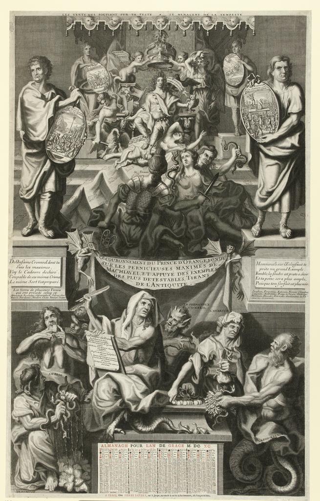 Franse spotprent op de kroning van Willem III, 1689