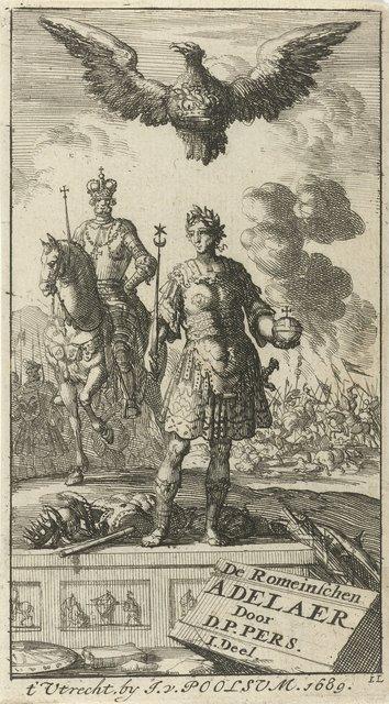 Romeinse keizer met scepter en wereldbol, boven hem vliegt een adelaar met een kroon in de klauwen