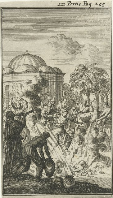 Verbranden van het lijk van een Brahmaan waarbij de weduwe zich in de vlammen stort