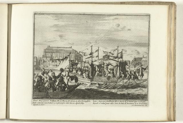 Willem III en Maria II varen in de koninklijke galei van Whitehall naar Westminster Abbey, 1689