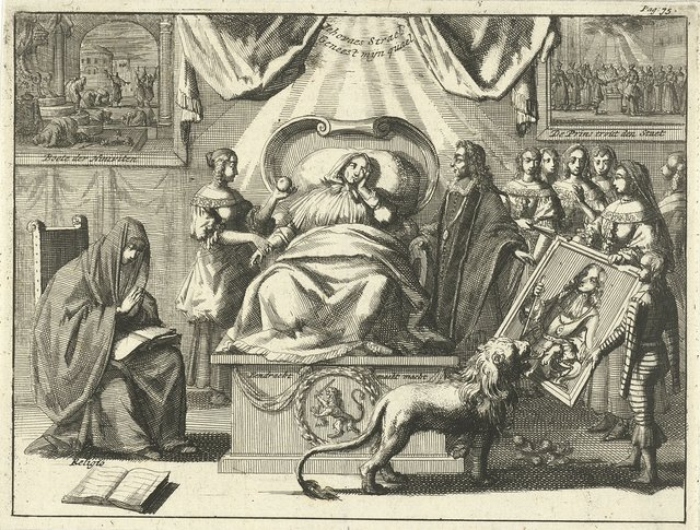 Allegorie op de positie van Willem III als redder van het vaderland, 1672