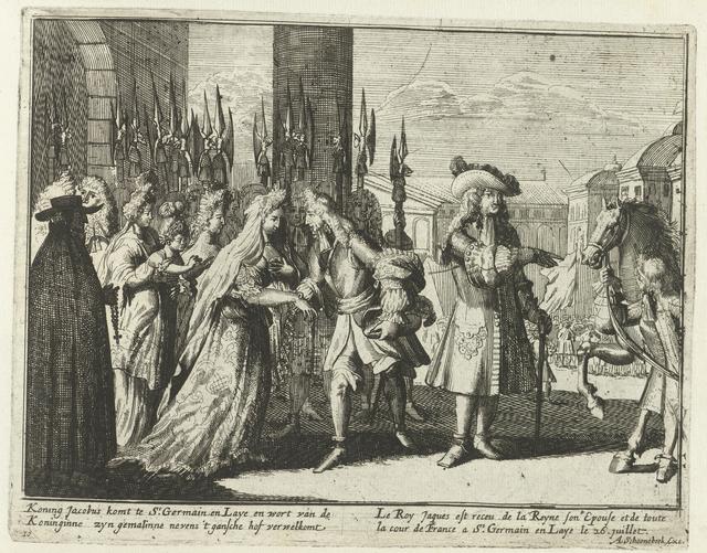 Jacobus II komt aan te Saint-Germain-en-Laye, 1690