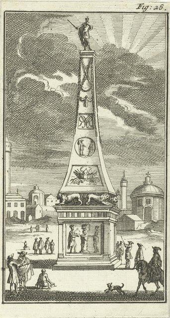 Obelisk met het standbeeld van koning Willem III