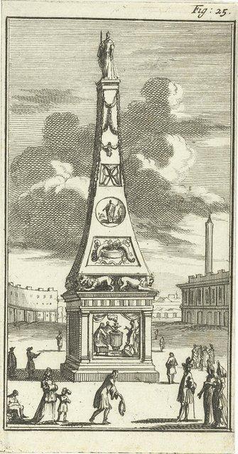 Obelisk met het standbeeld van Maria II Stuart
