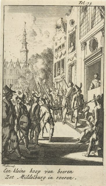 Aanval op het huis van burgemeester Van den Brande door opstandige boeren, 1672