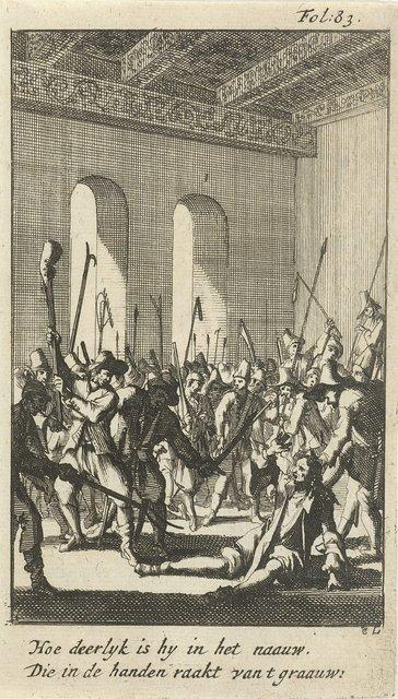 Burgemeester Filips van den Brande mishandeld door de opstandige boeren in het stadhuis, 1672