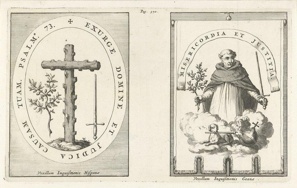 Medaillon met kruis van knoestig hout / H. Dominicus met zwaard en olijftak in de hand