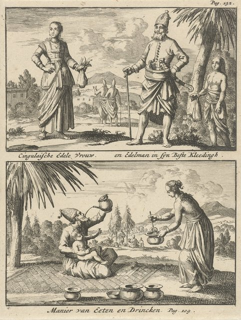 Singalese edelman en edelvrouw / Manier van eten en drinken bij de Singalezen