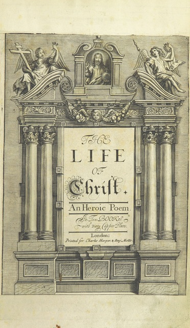"Religion from ""The Life of Our Blessed Lord & Saviour Jesus Christ. An heroic poem ... Illustrated by necessary notes ... also a prefatory discourse concerning heroic poetry. With sixty copper-plates [by William Faithorne]"""