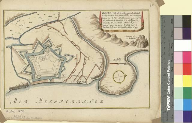 Roses [Material cartográfico] : ville forte d'Espagne du Païs de Lampourdan dans la Province de Catalogne... prise pour le Roy par le Mareschal Duc de Noailles l'an 1693