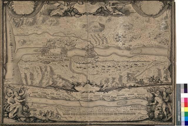Bataille du Ter [Material cartográfico] : gagnée par l'Armée du Roy commandée par le Maral. Duc de Noailles le 27 May 1694 sur l'armée Espagle. commandée par le Duc d'Escalone. Dediée au Roy