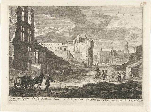 Ruïnes van de fontein den Spauwer te Brussel, 1695