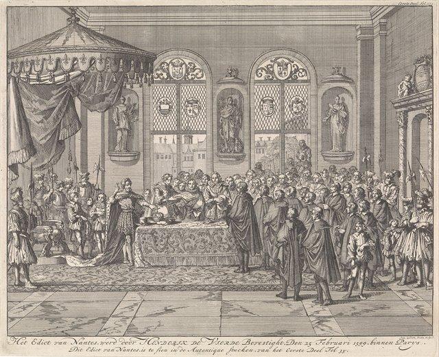 Bevestiging van het Edict van Nantes door koning Hendrik IV te Parijs, 1599