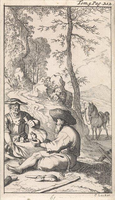Don Quichotte drinkt met een kluizenaar wijn in een bos