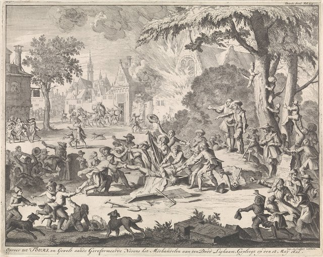 Oproer te Tours waarbij het lijk van een protestant wordt mishandeld, 1621