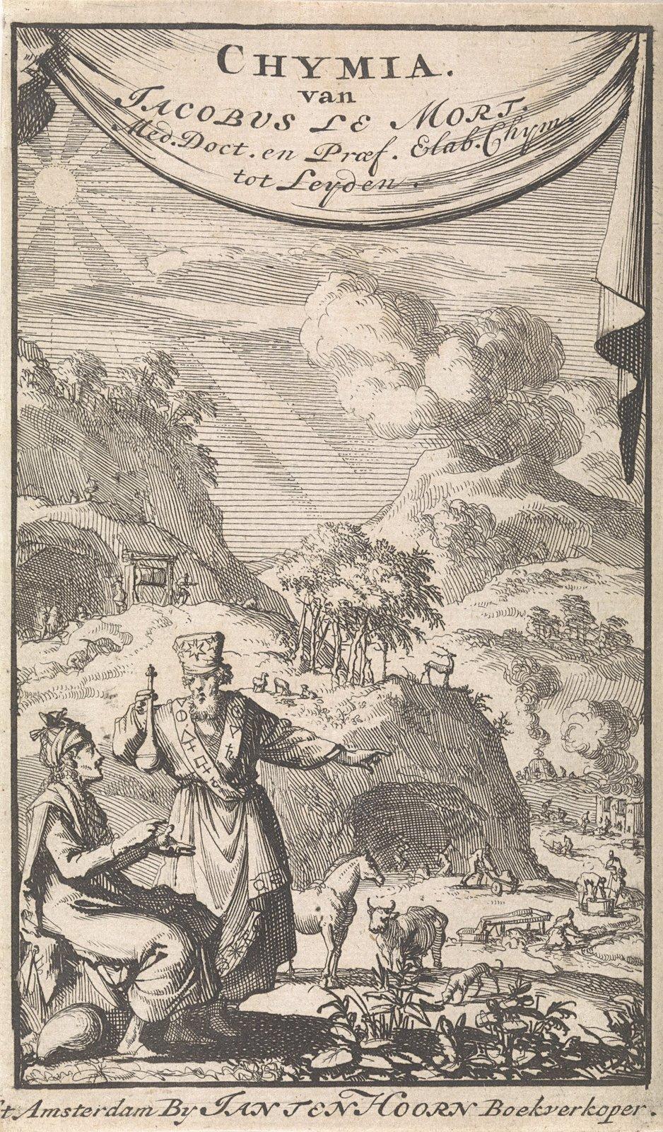 Twee wetenschappers discussiërend in een landschap