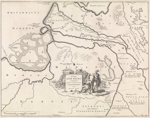 Historische kaart van Nederland met de gebieden van de Bataven en Friezen III