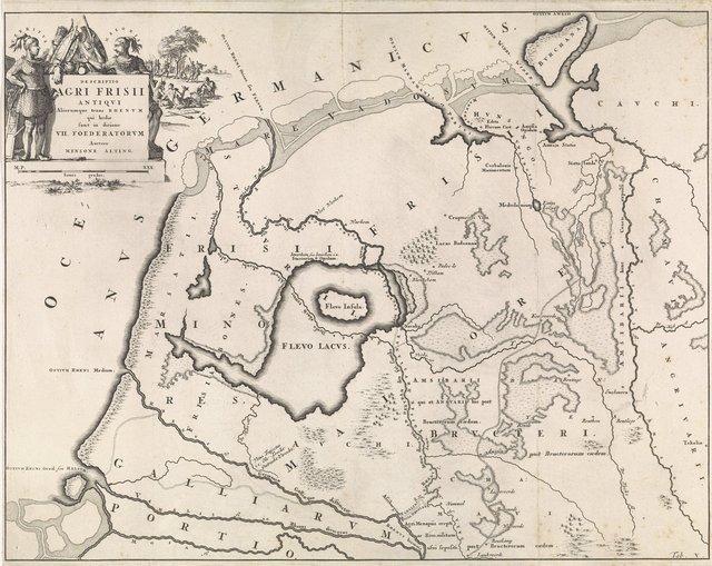Historische kaart van Nederland met de gebieden van de Bataven en Friezen V