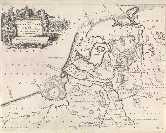 Historische kaart van Nederland ten tijde van de Bataven en de Friezen II