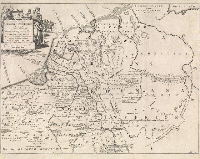 Historische kaart van Nederland ten tijde van de Friezen, Franken en Saksen I
