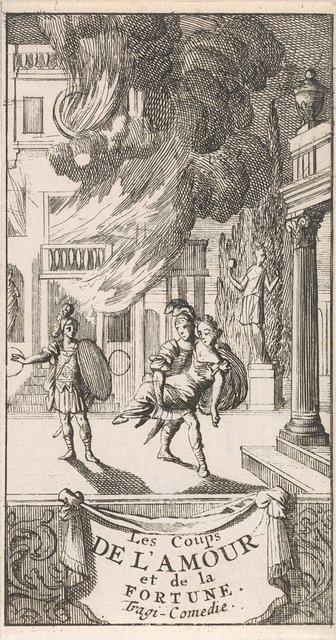"""Titelpagina voor """"Les coups de l'Amour et de la Fortune"""", in: P. Quinault, Le theatre, deel I, 1697"""