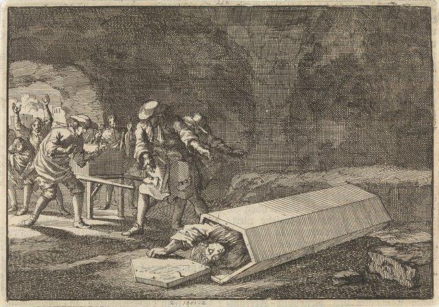 Begrafenisdienaars te Rome zien dat Antonio Marlini die zij enige dagen tevoren in een gewelf hadden bijgezet toen schijndood geweest moet zijn, 1696