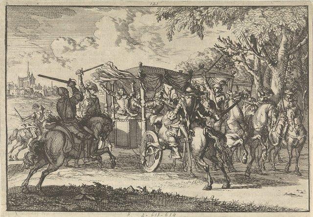 Bij Vaals wordt de koets van de heer Van Wagtendonck, resident der Staten-Generaal, aangevallen door Spaanse ruiters, 1668