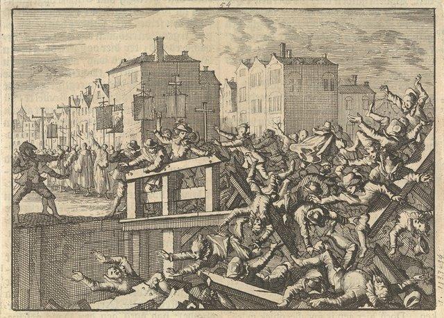Brug te Parijs stort in tijdens een processie, 1633