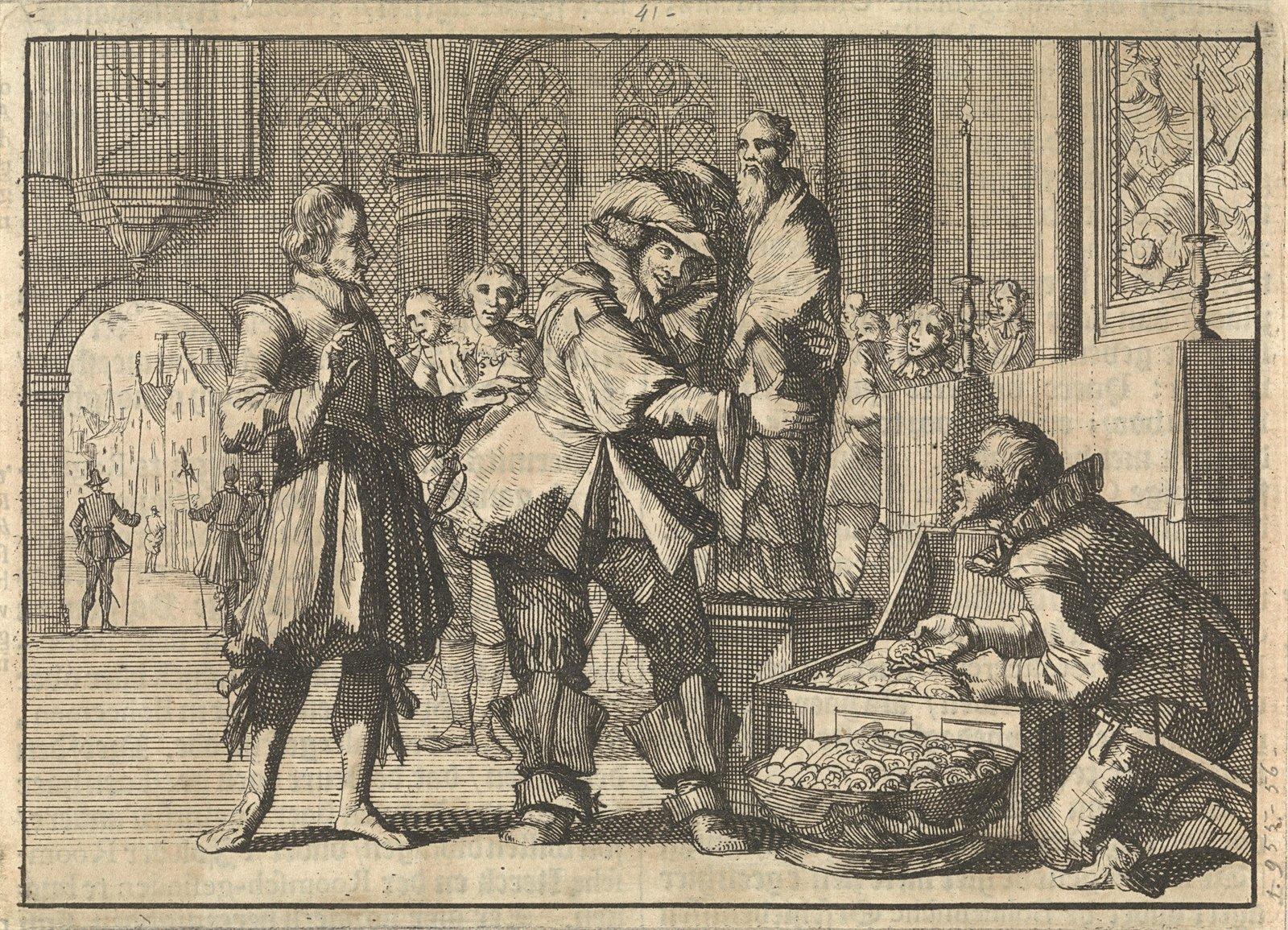 Christiaan, hertog van Brunswijk, vindt in de Dom van het door hem veroverde Paderborn schatten waaronder het gouden beeld van Liborius, 1622