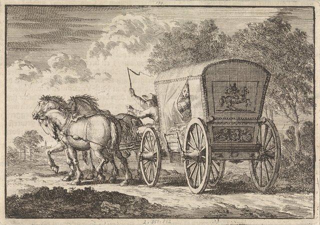 De in Den Haag door Johan Diederik de Mortaigne geschaakte Catharina van Orliens wordt per rijtuig naar Kuilenburg (Culemborg) gebracht, 1664