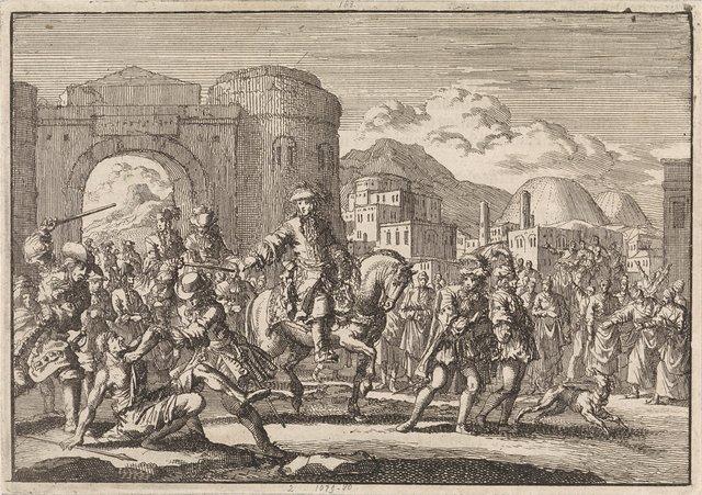 Franse gezant bij de sultan komt te paard Jeruzalem binnen, 1674