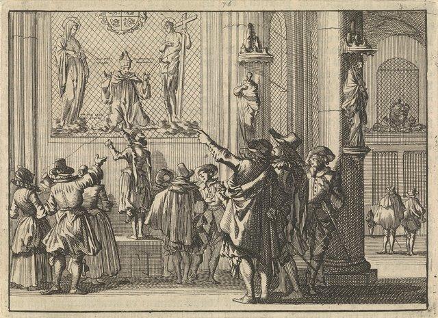 Geschilderd venster, na de verovering van Den Bosch in de kerk aldaar gevonden, voorstellende bisschop Gisbertus Marius tussen Christus en Maria, 1629